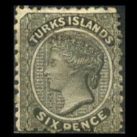 TURKS IS. 1867 - Scott# 2 Queen 6p LH