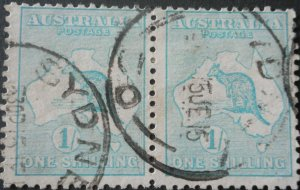 Australia 1913 One Shilling pair with SYDNEY 30 postmark