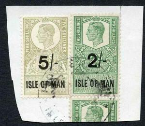 Isle of Man KGVI 2/- + 5/- Key Plate Type Revenues CDS on Piece