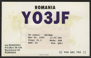 QSL CARD Ion Rusovici,YO3JF,Bucharest,Romania(Q4527)