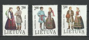 Lithuania 1992 Traditional Costumes 3 MNH Stamps