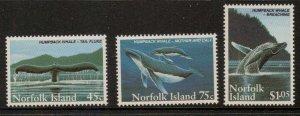 NORFOLK ISLAND SG587/9 1995 HUMPBACK WHALE MNH