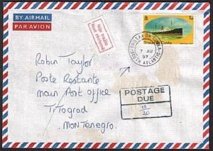 TRISTAN DA CUNHA 1997 Returned postage due cover to Montenegro.............78826