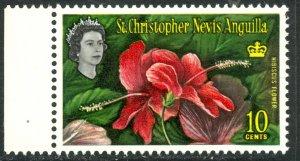 ST. KITTS NEVIS 1963 QE2 10c Hibiscus Flower Scott No. 152 MNH