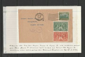 Cayman islands, 1932 panton cover from Jamiaca, with Centenary issues used as du
