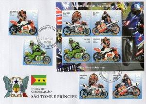 Sao Tome & Principe 2005 JAPANESE MOTORBIKES Set + Sheetlet Perforated FDC
