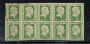 Prussia #1 Extra Fine Mint Block Of Ten Unused (No Gum)