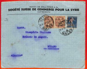 aa0361 - French SYRIA  O.M.F.  - POSTAL HISTORY -  COVER to  ITALY  1921