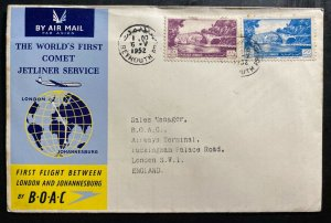1952 Beirut Lebanon First Flight Cover To London England BOAC Jet Liner