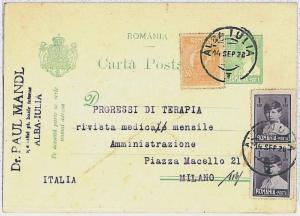 ROMANIA -  POSTAL HISTORY:  Postal Stationery to ITALY 1928 - MIXED FRANKING
