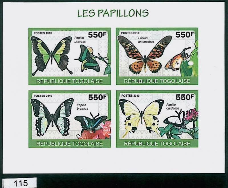 TOGO - ERROR, 2010 IMPERF SHEET: BUTTERFLIES, Fauna, Nature, Insects
