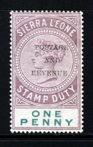 SIERRA LEONE QV 1897 1d. Dull Purple & Green Overptd POSTAGE & REVENUE MINT
