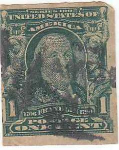 Scott #314 - 1c Blue Green - Franklin - (Imperforate) - Used - SCV - $18.00