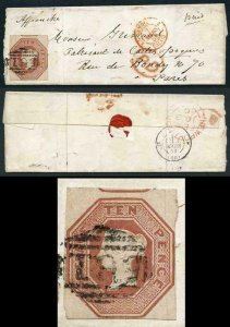 SG57 10d Embossed on small wrapper to Paris