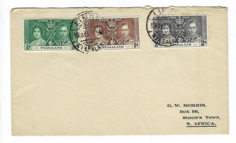 1937 Nyasaland First Day Cover - King George Coronation (II62)