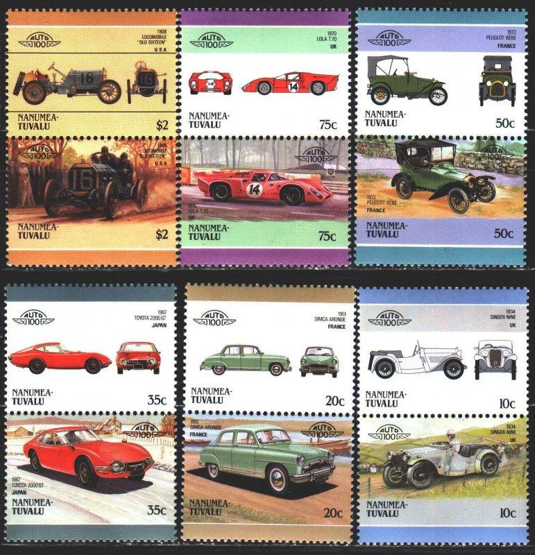 Tuvalu. 1986. 93-104. Cars. MNH.