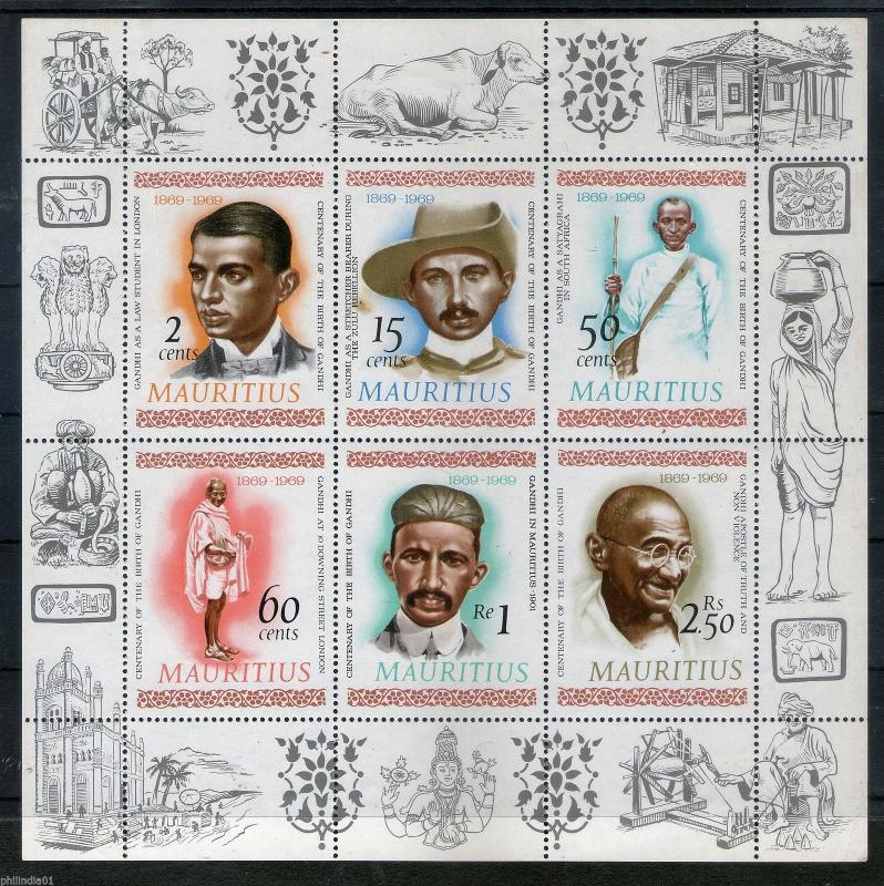 Mauritius 1969 Mahatma Gandhi of India Nonviolent Movement South Africa M/s MNH