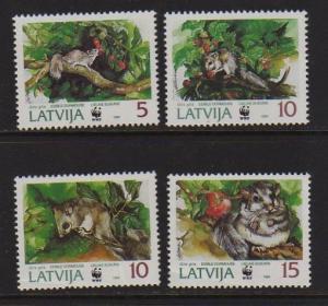Latvia 1994 Sc 381-384 WWF set MNH