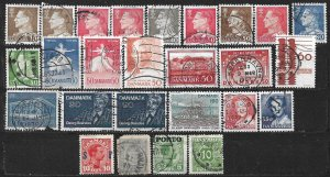 COLLECTION LOT OF 104 DENMARK STAMPS 1875+ 2 SCAN
