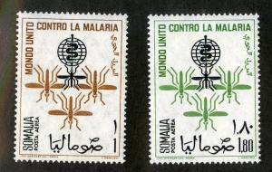 SOMALIA C85-C86 MNH SCV $3.60 BIN $1.75 MOSQUITOS / MEDICINE