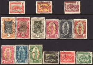 1900 - 1904 French Congo complete used set (15) Sc# 35 / 49 CV $160.90