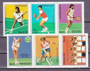 Paraguay, Scott cat. 2189 a-f, 2082. Tennis Players issue. ^