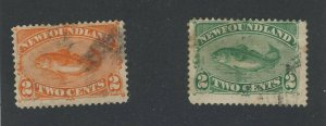 2x Newfoundland Used Codfish Stamps; #47-2c Fine #48-2c F/VF Guide Value= $30.00