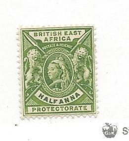 British East Africa, 72, Queen Victoria/Lions Single,**H**