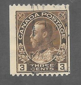 Canada Scott #134 Used 3c King George V Horizontal Coil  2018 CV $6.50