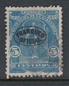 El Salvador 1900 5c Blue Official Overprint Used. Scott O226