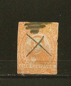 Mexico 125 Benito Juarez Clipped Perforations Used