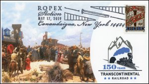19-094, 2019, Golden Spike, Pictorial Postmark, Event Cover, ROPEX, Canandaigua