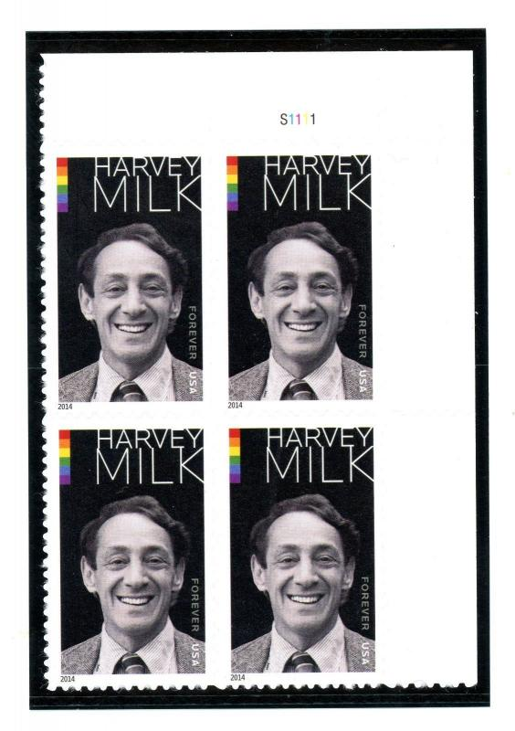 US  4906 Harvey Milk 49c - Forever Top Plate Block of 4 - MNH - S1111  UR