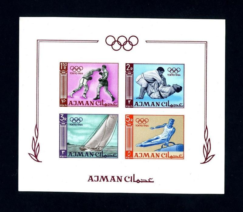 Ajman # 36b 1964 Olympics Imperforated NH Souvenir Sheet - Lot # 2