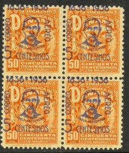 PANAMA 1936 President Arosemena Ovpt Airmail SPLIT DATE BLOCK OF 4 Sc C20 MNH