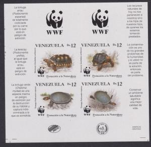 Venezuela WWF Tortoise and Turtle 4v imperf block 2*2 with Upper WWF Logo