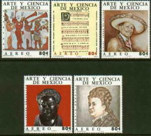 MEXICO C439-C443 Art & Science (Series 4) Musicians CPLT SET. MINT, NH. VF.
