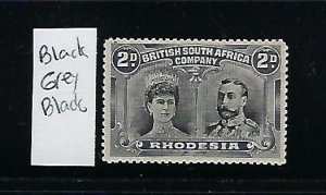 RHODESIA SCOTT #103 -1910 DOUBLE HEADS- 2P (GREY BLACK/BLACK) PERF 14 - MINT OG