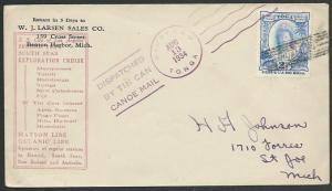 TONGA 1934 SS City of Los Angeles Exploration Cruise Tin Can Mail cover....83585