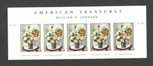 4653 Flowers, By William H. Johnson Header With 5 Stamps & Plate Numbers Mint/nh