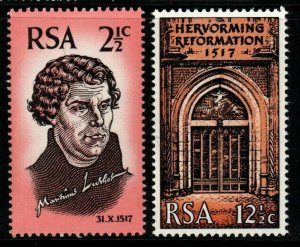SOUTH AFRICA SG269/70 1967 450th ANNIV OF REFORMATION MNH