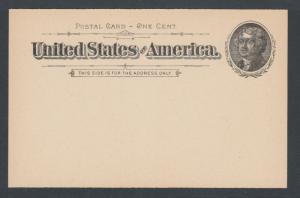 US Sc UX12 unused. 1894 1c black Jefferson Postal Card on buff stock, VF