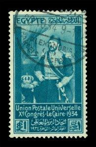 EGYPT  1934  Khedive Ismail Pasha  £1 prussia blue  Scott# 190  used VF