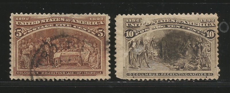 Lot # A116 Scott # 234 & # 237  5c & 10c Columbians