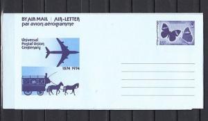 Belize, 1974 issue. Butterfly Postal Envelope. U.P.U. Cachet.