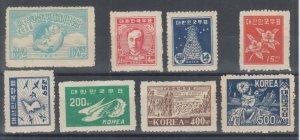 Korea Sc 77, 93-94, 109-113, MNH. 1947-49 issues, 3 cplt sets, fresh, F-VF.