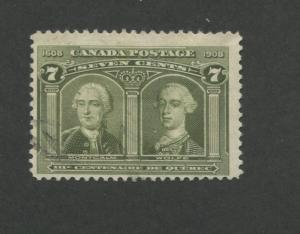 1908 Canada Generals Montcalm & Wolfe 7c Postage Stamp #100 Value $100