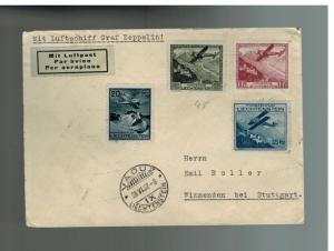 1932 Lichtenstein Graf Zeppelin LZ 127 cover to Germany # C2 C4 C5 C6