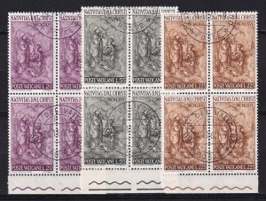 1966 - VATICAN - Scott #445-447 - First Day Cancels - Block Used