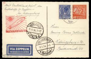 Netherlands 1934 Zeppelin Germany Deutschlandfahrt Si246 Flown Cover 90738